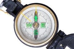 Mały kieszeniowy kompas odizolowywający na bielu Obraz Royalty Free