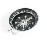 Mały kieszeniowy kompasu srebra czerń odizolowywający na białym tle Zdjęcie Royalty Free
