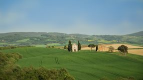 Mały kościół San Quirico d ` orcia Obraz Royalty Free