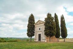 Mały kościół Vitaleta w Val d ` Orcia Obraz Royalty Free