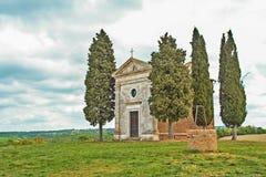Mały kościół Vitaleta w Val d ` Orcia Zdjęcia Royalty Free