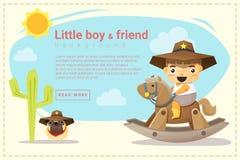 Mały kowboja i przyjaciela tło Zdjęcie Stock