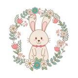 Mały królik z wiankiem kwitnie Easter charakteru royalty ilustracja