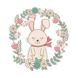 Mały królik z wiankiem kwitnie Easter charakteru ilustracja wektor
