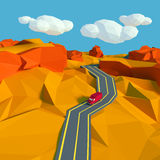 Mały krajobraz z drogą w pustyni Zdjęcie Royalty Free