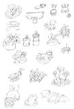 Mały kwiatów i zwierząt przedmiotów cykady motyl żaba pająk, nakreślenia, ołówków doodles i nakreślenia, i Obrazy Stock