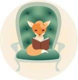 Mały lis czyta książkę Ilustracji