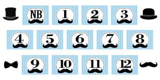 Mały mężczyzna temat 1-12 miesięcy, nowonarodzony fotografia sztandar Pierwszy przyjęcie urodzinowe dla dżentelmenu ilustracja wektor