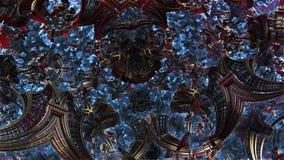 Mały metal rzeczy 3d fractal rozkazu chaos 3d fractal przyszłościowy miasto Rozwój cywilizacja w galaxy ilustracja wektor