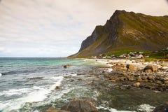 Mały miasto Vikten na Lofoten wyspach, Norwegia obraz royalty free