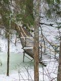 Mały most nad strumieniem w naturalnego parka Olenyi strumykach w Sverdlovsk regionie obraz stock