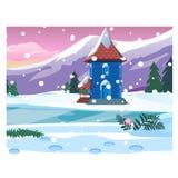 Mały osamotniony dom z śnieżnymi górami Kreśli dla kartki z pozdrowieniami, świątecznego plakata lub przyjęcia bożych narodzeń i  royalty ilustracja