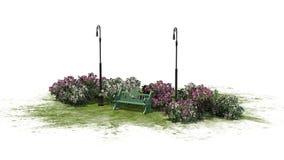 Mały park na białym tle Obrazy Royalty Free