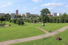 Mały park w mieście najlepszy widok Zdjęcia Stock