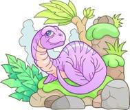 Mały plesiosaur, śmieszna ilustracja Zdjęcia Royalty Free