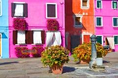Mały podwórze w Burano obrazy royalty free