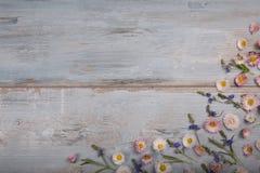Mały pole kwitnie na rocznik wietrzejącym drewnianym tle Retro projektujący kwiecisty tło Obrazy Stock