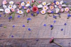 Mały pole kwitnie na rocznik wietrzejącym drewnianym tle Retro projektujący kwiecisty tło Zdjęcie Stock