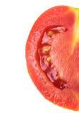 Mały Pomidorowy plasterek odizolowywający na białym tle, odgórny widok Obraz Stock