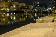 Mały port przy nocą w mieście Nantes Francja Zdjęcie Stock