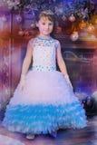 Mały princess przy choinką Obrazy Royalty Free