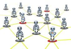 Mały robot społeczności powiązanie na odosobnionym białym tle ilustracja wektor