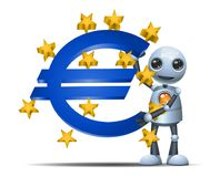 Mały robota chwyta euro symbol ilustracji