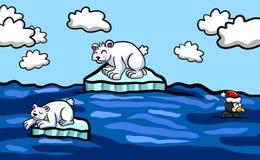 Mały Roztapiający Lodowych gór lodowa tło ilustracja wektor