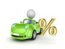 Mały samochód i procenty symboli/lów. ilustracja wektor