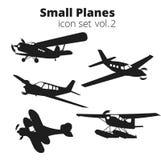 Mały samolotu wektoru ilustraci set Pojedynczego silnika napędzający pasażerski samolot fotografia stock