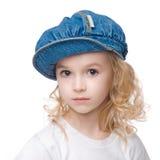 Mały spokojny dziewczyna portret w nakrętce Zdjęcia Stock