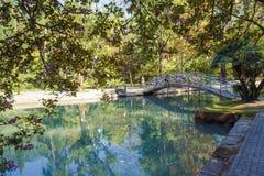Mały staw i piękny most w nadmorski parku na letnim dniu Fotografia Stock