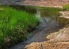 Mały strumień z trawą i granitem Zdjęcia Royalty Free