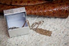 Mały szary agata breloczek na łańcuchu Zdjęcia Royalty Free