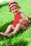 mały szczęśliwy dziewczyna gazon Obrazy Stock