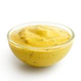 Mały szklany condiment puchar żółty curry'ego kumberland w p Fotografia Royalty Free
