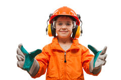 Mały uśmiechnięty dziecko chłopiec inżynier lub ręczny pracownik Obrazy Royalty Free