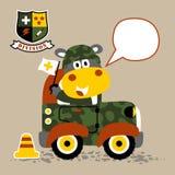 Mały wojsko samochód z śliczną wojsko kreskówką royalty ilustracja