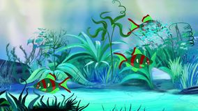 Mały zieleni akwarium łowi w zbiorniku royalty ilustracja
