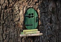 Mały zielony czarodziejki, pixie drzwi w drzewnym bagażniku/ obrazy stock