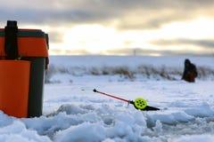 Mały zima połowu prącia lód Fotografia Stock