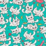 Małych białych kotów bezszwowe deseniowe różne emocje Kiciuni sztuka z balowym odprowadzeniem w natury polowaniu dla myszy i bieg ilustracji