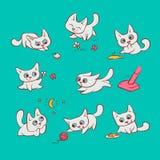 Małych białych kotów różne emocje i sytuacje Kiciuni sztuka z balowym odprowadzeniem w natury polowaniu dla myszy i bieg ilustracja wektor