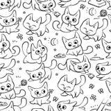 Małych czarnych białych kotów bezszwowe deseniowe różne emocje Kiciuni sztuka z balowym odprowadzeniem w natury polowaniu dla mys ilustracja wektor