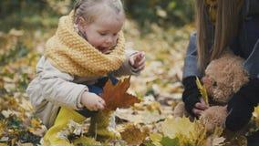 Małych dziewczynek sztuki z liśćmi w jesień parku obraz royalty free