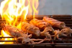 Maślany świeży kałamarnica grill fotografia stock