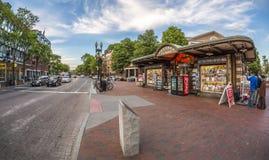 哈佛广场在剑桥, MA,美国 免版税图库摄影