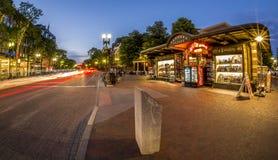 哈佛广场在剑桥, MA,美国 免版税库存照片