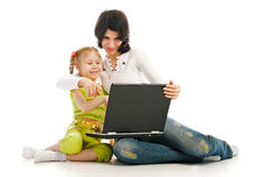 Ma And Child With Laptop Royalty Free Stock Photography