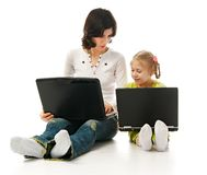 Ma And Child With Laptops Stock Images